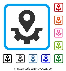 Service Map Marker icon. Flat grey iconic symbol in a light blue rounded rectangle. Black, gray, green, blue, red, orange color versions of Service Map Marker vector.