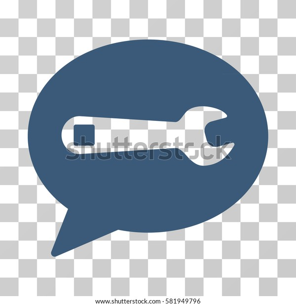 Service Message vector icon. Illustration style is a flat iconic blue symbol on a transparent background.