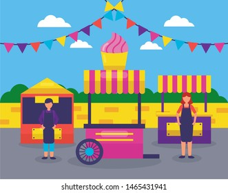 service park booth snacks food vector illustration