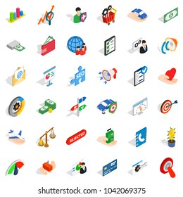 Service payment icons set. Isometric set of 36 service payment vector icons for web isolated on white background