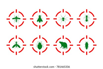 Service of pest control. Destruction of insects and rodents. Insects under gun - fly, cockroach, bedbug, rat, mosquito, spider, ant. Vector illustration