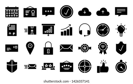 Service & Quality glyph icon symbol set
