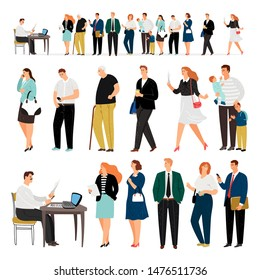 Service queue. Bank business loan approval people row or questionnaires and applications admin cartoon men and women standing long line vector illustration
