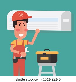 Service for repair  of air conditioners - Flat design cartoon style