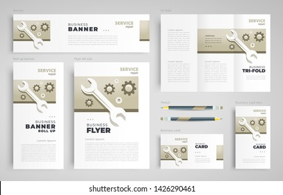 Service repair gear wheel Set flyer cover, tri-fold, banner, roll up banner, business card