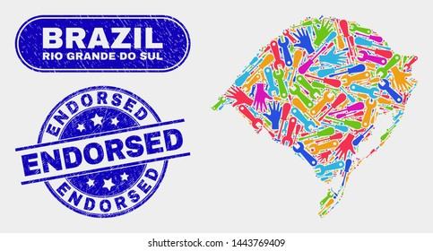Service Rio Grande do Sul State map and blue Endorsed scratched seal. Bright vector Rio Grande do Sul State map mosaic of productivity parts. Blue round Endorsed seal.
