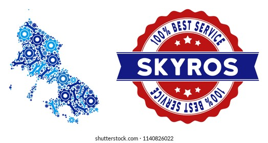 Service Skyros Greek Island map composition of service tools. Abstract geographic scheme in blue colors and best service award. Vector Skyros Greek Island map is formed of gear wheels and wrenches.