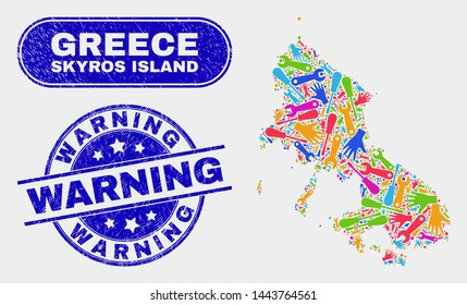 Service Skyros Island map and blue Warning textured stamp. Bright vector Skyros Island map mosaic of machinery units. Blue round Warning stamp.