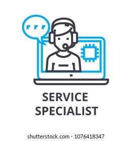 service specialist thin line icon, sign, symbol, illustation, linear concept, vector
