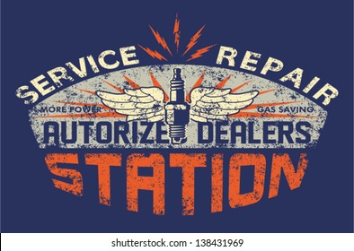 Service station vintage sign board - Vector artwork for boy t shirt - Custom colors - distressed effect in separate layer