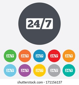 Service and support for customers. 24 hours a day and 7 days a week icon. Round colourful 11 buttons. Vector