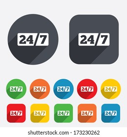 Service and support for customers. 24 hours a day and 7 days a week icon. Circles and rounded squares 12 buttons. Vector