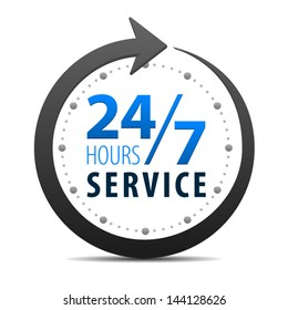 Service and support for customers around the clock and 24 hours a day and 7 days a week icon or symbol isolated on white background. Vector