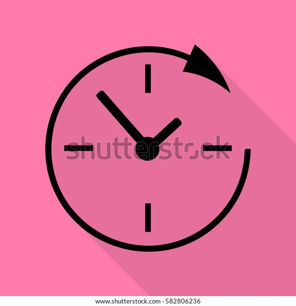 Service and support for customers around the clock and 24 hours. Black icon with flat style shadow path on pink background.