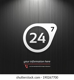 Service, Support and help 24 hours a day and 7 days a week icon isolated on a black texture background with light for your design, vector illustration