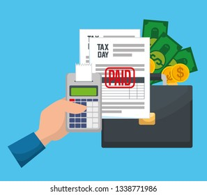 service tax report with dataphone and briefcase