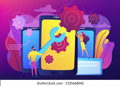 Service technicians with big wrench repairing smartphone screen with gears. Smartphone repair, cell phone service, same day repair concept. Bright vibrant violet vector isolated illustration