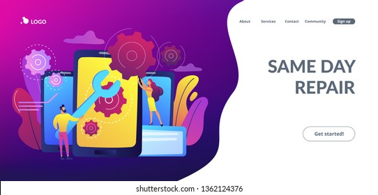 Service technicians with big wrench repairing smartphone screen with gears. Smartphone repair, cell phone service, same day repair concept. Website vibrant violet landing web page template.