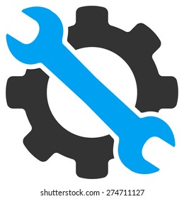 Service tool icon. This isolated flat gear symbol uses modern corporation light blue and gray colors.