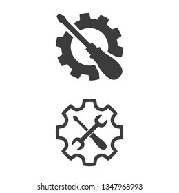 Service tool icons on white background. Vector illustration