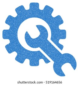 Service Tools grainy textured icon for overlay watermark stamps. Flat symbol with unclean texture. Dotted vector cobalt ink rubber seal stamp with grunge design on a white background.
