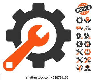 Service Tools icon with bonus configuration icon set. Vector illustration style is flat iconic orange and gray symbols on white background.