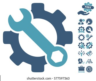 Service Tools icon with bonus setup tools graphic icons. Vector illustration style is flat iconic cyan and blue symbols on white background.