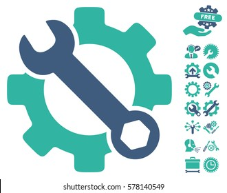 Service Tools icon with bonus setup tools symbols. Vector illustration style is flat iconic cobalt and cyan symbols on white background.