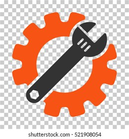 Service Tools icon. Vector pictogram style is a flat bicolor symbol, orange and gray colors, chess transparent background. Designed for software and web interface toolbars and menus.