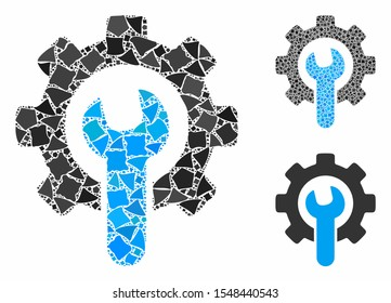 Service tools mosaic of bumpy elements in variable sizes and shades, based on service tools icon. Vector rugged elements are organized into mosaic. Service tools icons collage with dotted pattern.
