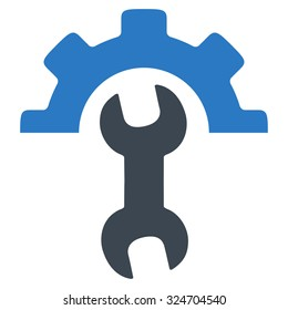 Service Tools vector icon. Style is bicolor flat symbol, smooth blue colors, rounded angles, white background.