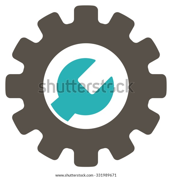 Service Tools vector icon. Style is bicolor flat symbol, grey and cyan colors, rounded angles, white background.