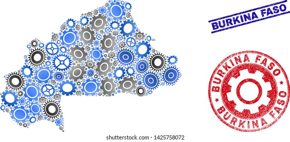 Service vector Burkina Faso map collage and seals. Abstract Burkina Faso map is organized with gradient random gearwheels. Engineering territorial scheme in gray and blue colors,