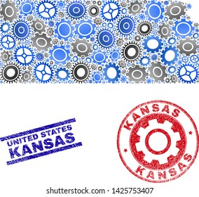 Service vector Kansas State map collage and seals. Abstract Kansas State map is done from gradient random gearwheels. Engineering territory plan in gray and blue colors,