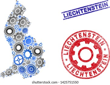 Service vector Liechtenstein map composition and stamps. Abstract Liechtenstein map is done of gradiented scattered gearwheels. Engineering geographic scheme in gray and blue colors,