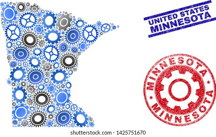 Service vector Minnesota State map composition and stamps. Abstract Minnesota State map is composed of gradiented scattered gearwheels. Engineering territory scheme in gray and blue colors,