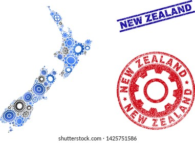 Service vector New Zealand map mosaic and seals. Abstract New Zealand map is constructed of gradiented randomized gearwheels. Engineering territory scheme in gray and blue colors,