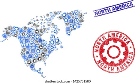 Service vector North America map mosaic and stamps. Abstract North America map is done with gradiented randomized gearwheels. Engineering territorial plan in gray and blue colors,