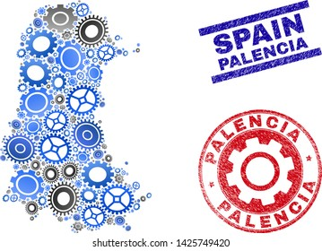 Service vector Palencia Province map collage and stamps. Abstract Palencia Province map is constructed from gradiented randomized gearwheels. Engineering territorial scheme in gray and blue colors,