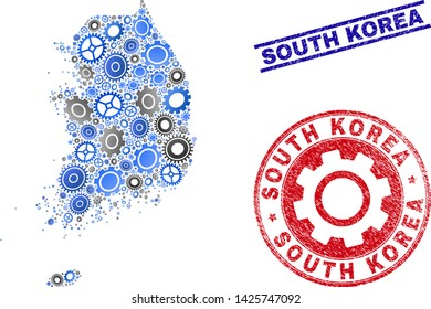 Service vector South Korea map collage and stamps. Abstract South Korea map is constructed of gradient randomized gearwheels. Engineering territory plan in gray and blue colors,