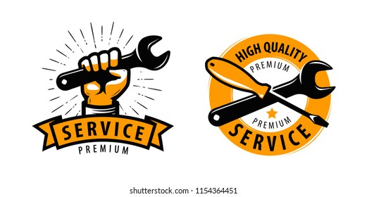 Service work, repair label or logo. Tools concept. Vector illustration