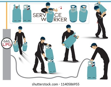 Service worker of LPG Gas for food, Info graphic vector cartoon acting character design, Tanks has turquoise, blue, orange, red 4 color and letter of word is my design.