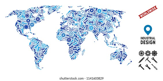 Service world map collage of cogwheels, wrenches, hammers and other tools. Abstract territory scheme in blue color tones. Vector world map is created with tools. Concept of industrial service.
