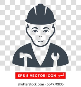 Serviceman EPS vector icon. Illustration style is flat iconic smooth blue symbol on chess transparent background.