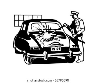 Serviceman Washing Car - Retro Clipart Illustration