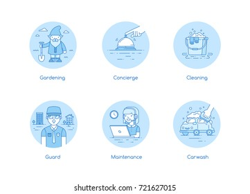 Services icon set in lineart style
