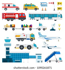 Serving airport transportation and air transport vector flat material design set. Fire engine, ambulance, ladder, passenger bus, automotive fuel, baggage car isolated illustration on white background.