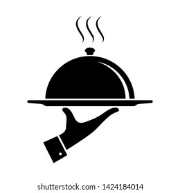 Serving food icon. Sign hand of waiter with serving tray. Waiter serving. Isolated symbol on white background. Vector illustration