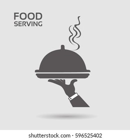 Serving food - with restaurant cloche in hand - grey flat icon