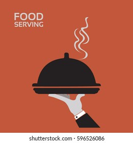 Serving food - with restaurant cloche in hand - flat icon